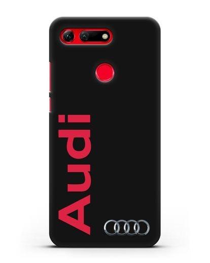 Чехол с надписью Audi и логотипом силикон черный для Honor View 20
