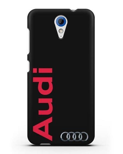 Чехол с надписью Audi и логотипом силикон черный для HTC Desire 620