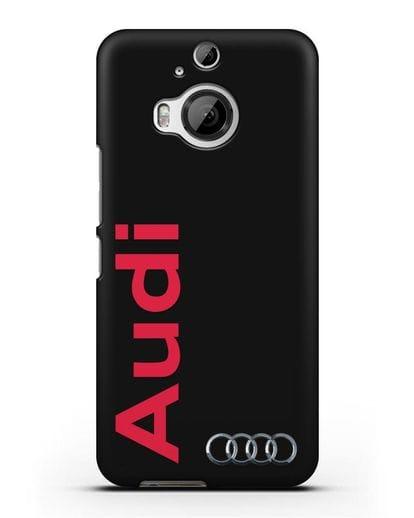Чехол с надписью Audi и логотипом силикон черный для HTC One M9 Plus