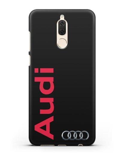 Чехол с надписью Audi и логотипом силикон черный для Huawei Mate 10 Lite