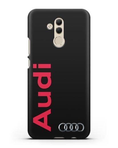 Чехол с надписью Audi и логотипом силикон черный для Huawei Mate 20 Lite