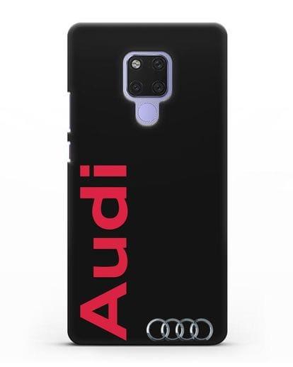 Чехол с надписью Audi и логотипом силикон черный для Huawei Mate 20X