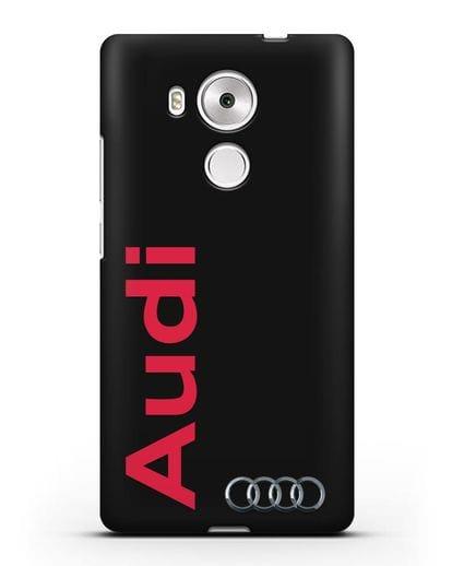 Чехол с надписью Audi и логотипом силикон черный для Huawei Mate 8