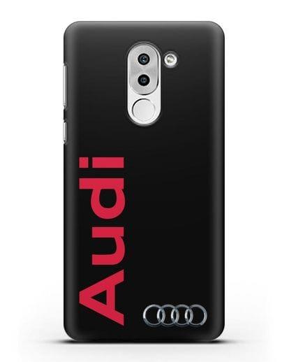 Чехол с надписью Audi и логотипом силикон черный для Huawei Mate 9 Lite