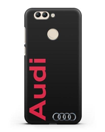 Чехол с надписью Audi и логотипом силикон черный для Huawei Nova 2 Plus
