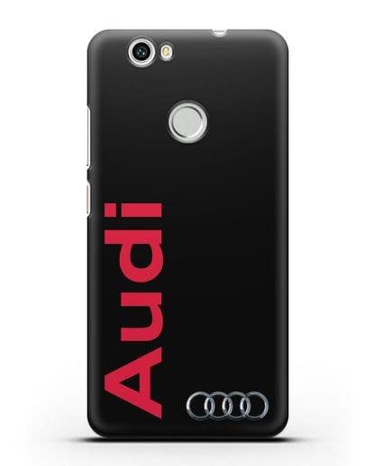 Чехол с надписью Audi и логотипом силикон черный для Huawei Nova
