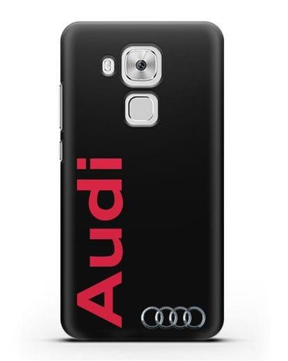 Чехол с надписью Audi и логотипом силикон черный для Huawei Nova Plus