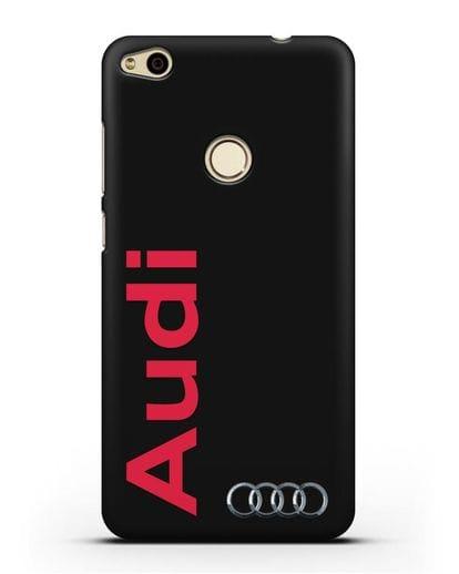 Чехол с надписью Audi и логотипом силикон черный для Huawei P8 Lite 2017