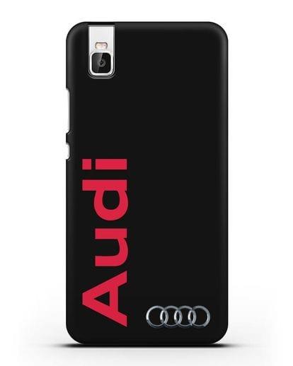 Чехол с надписью Audi и логотипом силикон черный для Huawei Shot X