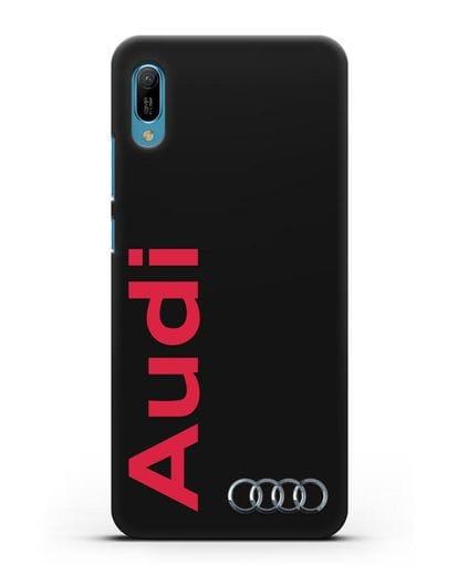 Чехол с надписью Audi и логотипом силикон черный для Huawei Y6 2019