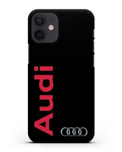 Чехол с надписью Audi и логотипом силикон черный для iPhone 12 mini