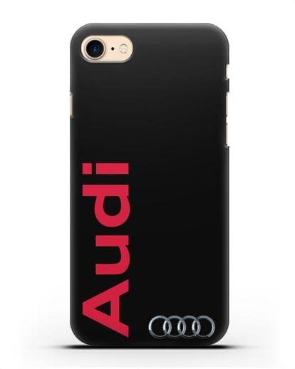 Чехол с надписью Audi и логотипом силикон черный для iPhone 7
