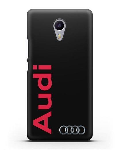 Чехол с надписью Audi и логотипом силикон черный для MEIZU M3 Note