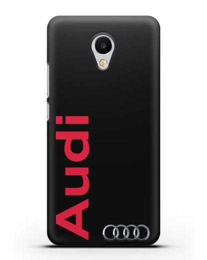 Чехол с надписью Audi и логотипом силикон черный для MEIZU M3s mini