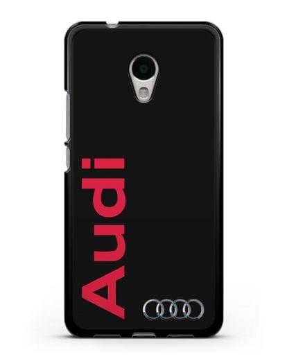 Чехол с надписью Audi и логотипом силикон черный для MEIZU M5s