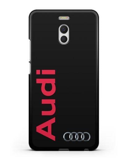 Чехол с надписью Audi и логотипом силикон черный для MEIZU M6 Note