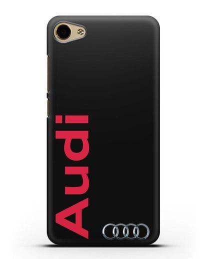 Чехол с надписью Audi и логотипом силикон черный для MEIZU U10