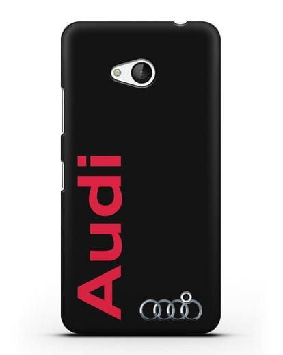 Чехол с надписью Audi и логотипом силикон черный для Microsoft Lumia 640