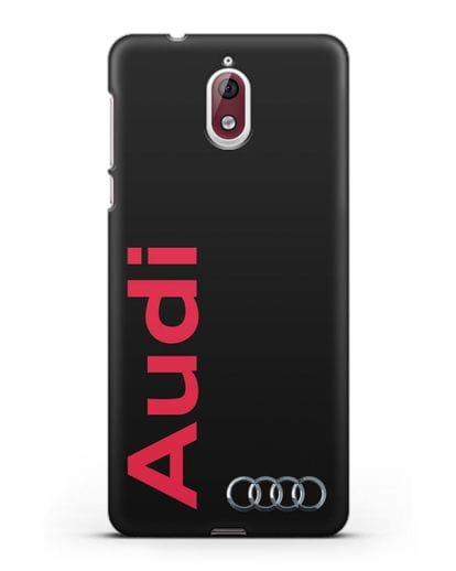 Чехол с надписью Audi и логотипом силикон черный для Nokia 3.1