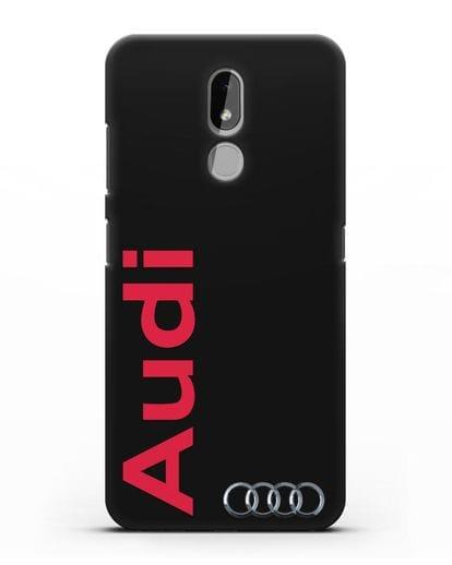 Чехол с надписью Audi и логотипом силикон черный для Nokia 3.2 2019