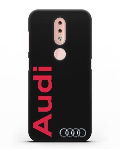 Чехол с надписью Audi и логотипом силикон черный для Nokia 4.2 2019