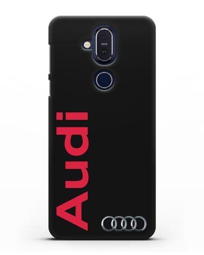 Чехол с надписью Audi и логотипом силикон черный для Nokia 7.1 plus