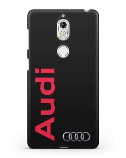 Чехол с надписью Audi и логотипом силикон черный для Nokia 7