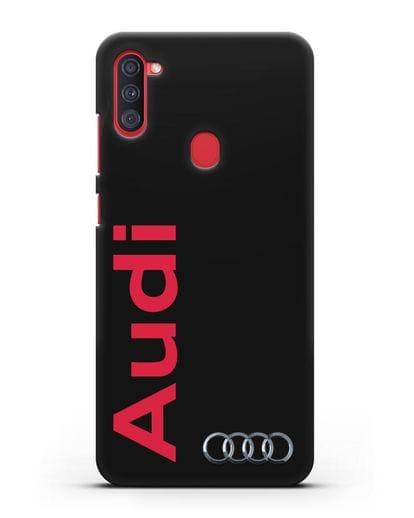Чехол с надписью Audi и логотипом силикон черный для Samsung Galaxy A11 [SM-A115F]
