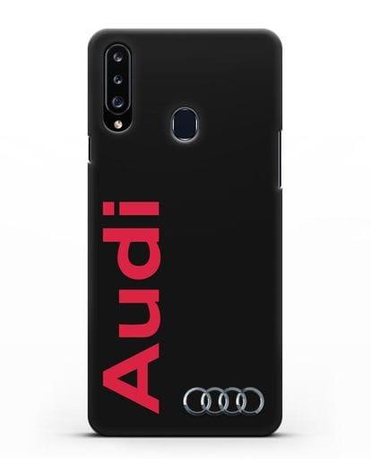Чехол с надписью Audi и логотипом силикон черный для Samsung Galaxy A20s [SM-A207FN]