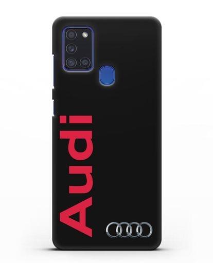 Чехол с надписью Audi и логотипом силикон черный для Samsung Galaxy A21s [SM-A217F]