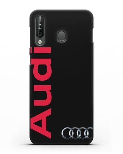 Чехол с надписью Audi и логотипом силикон черный для Samsung Galaxy A40s [SM-A507FN]