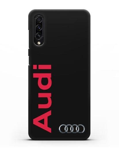Чехол с надписью Audi и логотипом силикон черный для Samsung Galaxy A50s [SM-F507FN]