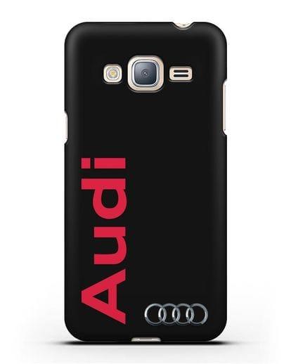 Чехол с надписью Audi и логотипом силикон черный для Samsung Galaxy J3 2016 [SM-J320F]
