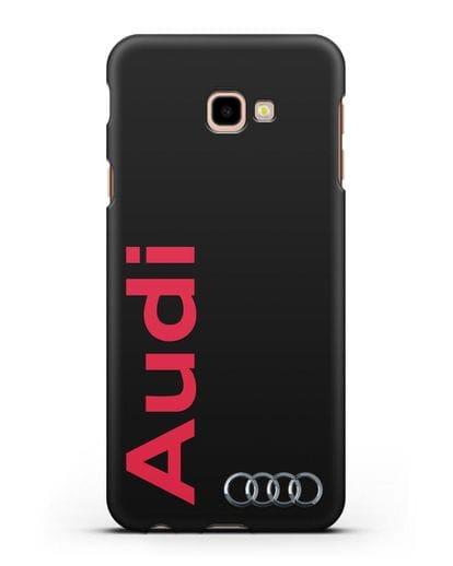 Чехол с надписью Audi и логотипом силикон черный для Samsung Galaxy J4 Plus [SM-J415]