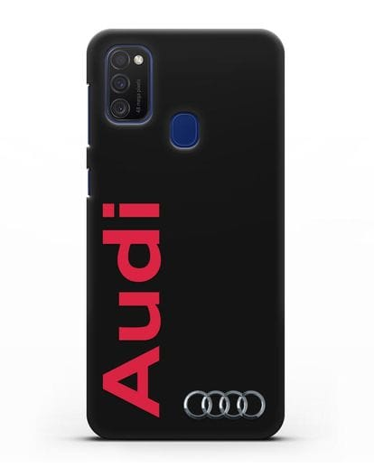 Чехол с надписью Audi и логотипом силикон черный для Samsung Galaxy M21 [SM-M215F]