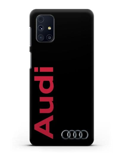 Чехол с надписью Audi и логотипом силикон черный для Samsung Galaxy M31s [SM-M317F]