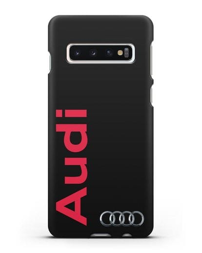 Чехол с надписью Audi и логотипом силикон черный для Samsung Galaxy S10 [SM-G973F]