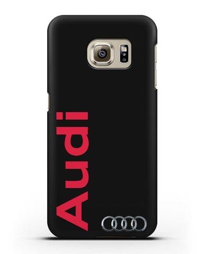 Чехол с надписью Audi и логотипом силикон черный для Samsung Galaxy S6 Edge Plus [SM-928F]