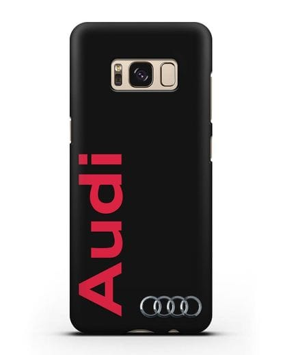 Чехол с надписью Audi и логотипом силикон черный для Samsung Galaxy S8 [SM-950F]