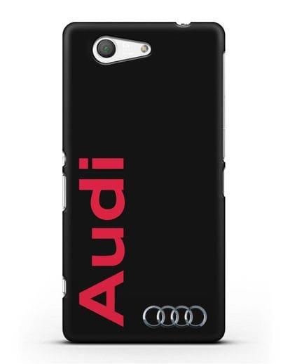 Чехол с надписью Audi и логотипом силикон черный для Sony Xperia Z3 Compact