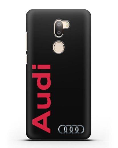 Чехол с надписью Audi и логотипом силикон черный для Xiaomi Mi 5S Plus