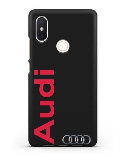 Чехол с надписью Audi и логотипом силикон черный для Xiaomi Mi 8 SE