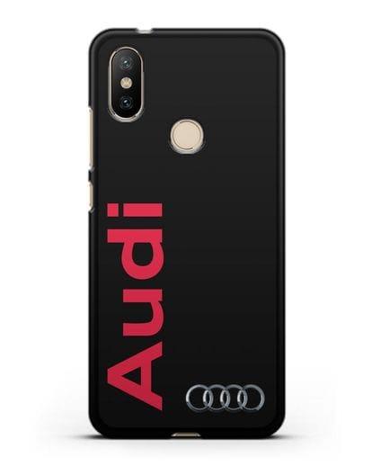 Чехол с надписью Audi и логотипом силикон черный для Xiaomi Mi A2