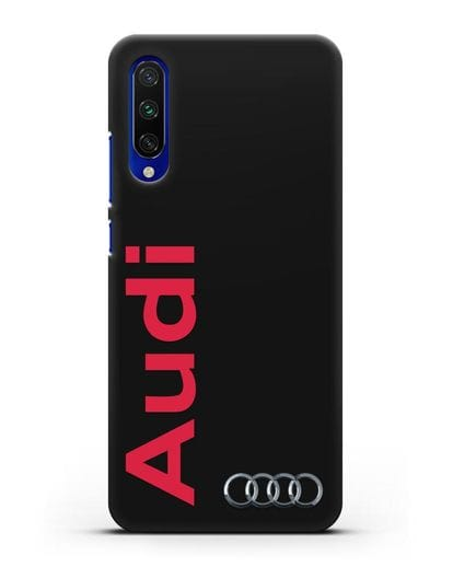 Чехол с надписью Audi и логотипом силикон черный для Xiaomi Mi CC9 E