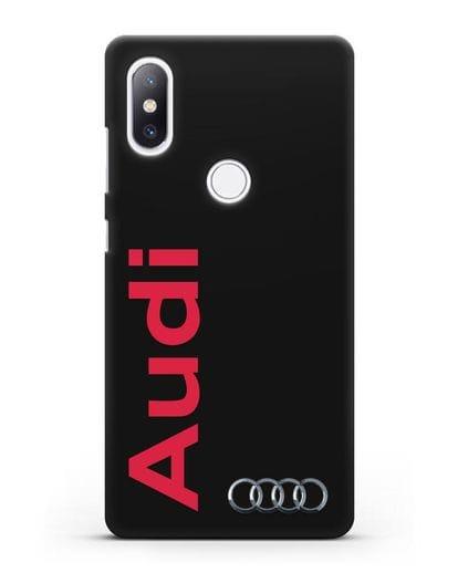 Чехол с надписью Audi и логотипом силикон черный для Xiaomi Mi Mix 2S