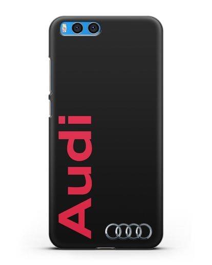 Чехол с надписью Audi и логотипом силикон черный для Xiaomi Mi Note 3