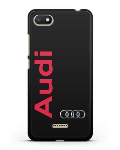 Чехол с надписью Audi и логотипом силикон черный для Xiaomi Redmi 6A