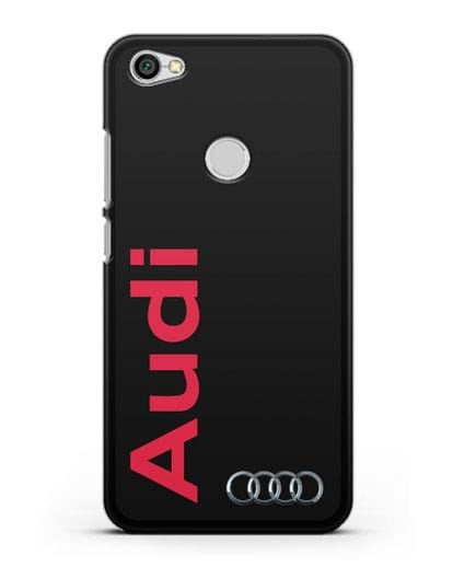 Чехол с надписью Audi и логотипом силикон черный для Xiaomi Redmi Note 5A Prime