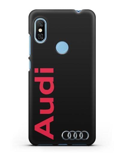 Чехол с надписью Audi и логотипом силикон черный для Xiaomi Redmi Note 6 Pro