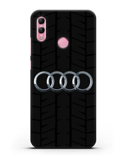 Чехол с логотипом Audi c протектором шин силикон черный для Honor 10 Lite